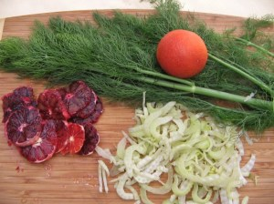 Slivered fennel and Moro blood oranges